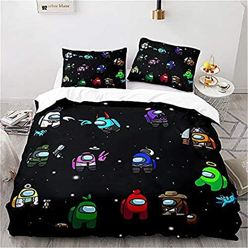 Aatensou Ropa de cama con estampado de Among Us, funda nórdica de microfibra con cremallera + 2 fundas de almohada, de cama decorativo de 3 pieza