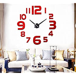 FASHION in THE CITY 3D DIY Mirror Surface Wall Clock Large Size Wall Decorative Clocks Silent Non Ticking Movement Clock(Red)