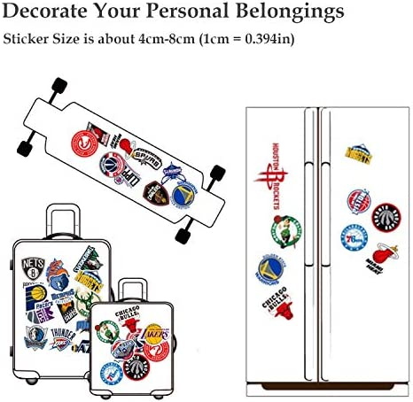 Basketball Sticker, NBA Stickers,Basketball NBA Team Stickers Creative DIY Stickers Decorative for Cars Motorcycle Bicycle Skatebo Luggage Computer Notebook Phone, etc(Non-repetitive 30pcs)