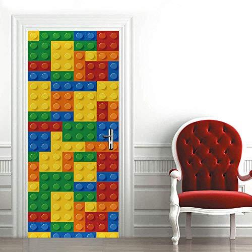 Módulo Lego 3Dcartel de puerta autoadhesivo, imagen de pared autoadhesiva DIY, papel tapiz impermeable de PVC-77cm(W)*200cm(H)