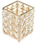 ZEM Portalápices de cristal con cuentas de cristal, soporte para velas, organizador de maquillaje, organizador de oficina, organizador de tocador, accesorios dorados