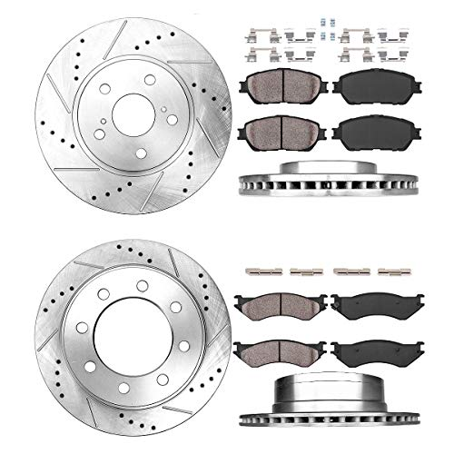 Callahan CDS02157 FRONT 353mm + REAR 352.5mm D/S 8 Lug [4] Rotors + Ceramic Brake Pads + Clips [fit Ram 1500 2500 3500]