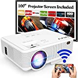 MVV Upgraded 1080P WiFi Projector, [180ANSI--Over 6500 Lux] Outdoor Projector with 100'' Screen Mini Portable Projector Synchronize Smartphone Screen Compatible with TV Stick HDMI USB AV - Best Reviews Guide