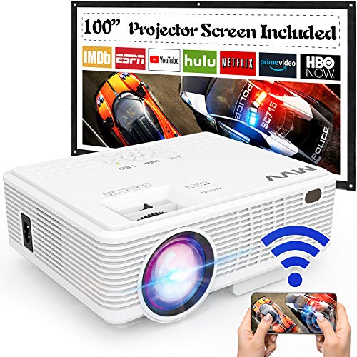 MVV Upgraded 1080P WiFi Projector, [180ANSI--Over 6500 Lux] Outdoor Projector with 100'' Screen Mini Portable Projector Synchronize Smartphone Screen Compatible with TV Stick HDMI USB AV