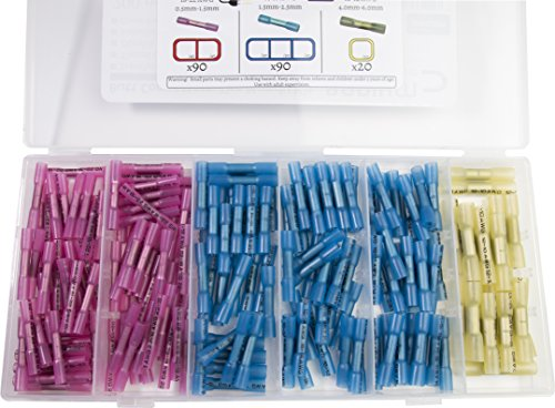 200 Pack Heat Shrink Butt Connectors - The Handy Kit - 90 Red, 90 Blue, 20 Yellow | 10-22 AWG, Splice, solderless Terminal, Crimp, Cable Repair, Automotive, car Audio, Home Audio