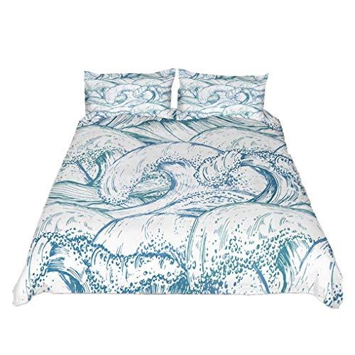 788 Summer Ocean Surf Wave - Juego de ropa de cama (135 x 200 cm), diseño de olas nórdicas, color blanco y azul marino