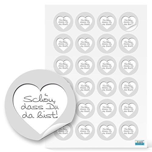 Logbuch-Verlag 48 SCHÖN DASS DU DA BIST Aufkleber weiß grau silber Deko Sticker Etiketten r& 4 cm Feste Geschenkaufkleber…