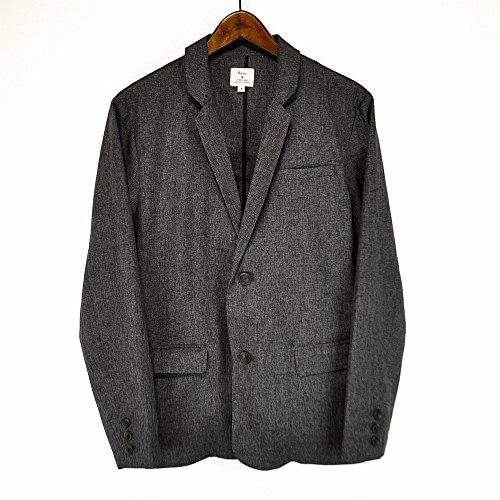 レボ(Revo.)TH-2072-3 杢織りテーラードジャケット 杢織りアンクルパンツ セットアップ カジュアル ナローラペル 薄手ジャケット (1(M), ブラック)