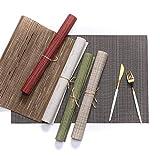 4 pezzi Tovagliette in PVC resistente alle macchie di calore Tovaglietta antimacchia Tovagliette per tovagliette Tappetini in accessori Tazza di vino Mat 45x30 cm
