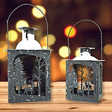 Rustic Lantern Set - Pack of 2 - Small and Medium Metal Lanterns - Winter Scene with Deer - Snow Covered Lanterns