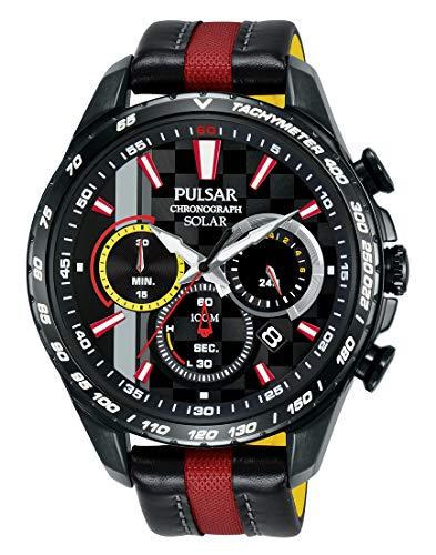 Pulsar Herren Analog Solar Uhr mit Leder Armband PZ5081X1