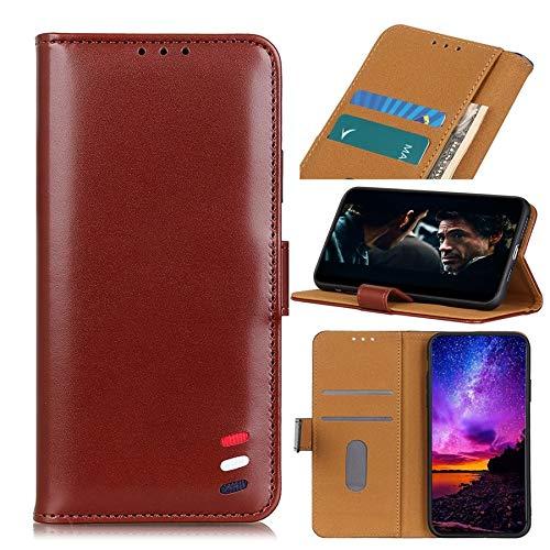 MAXJCN Funda para Moto G8 Play, funda tipo cartera de piel con textura nacarada, estuche para tarjetas (color marrón