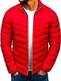 BOLF Hombre Chaqueta de Entretiempo Guateada Cierre de Cremallera Cuello Elevado Estilo Diario J.Style LY1015 Rojo L [4D4]