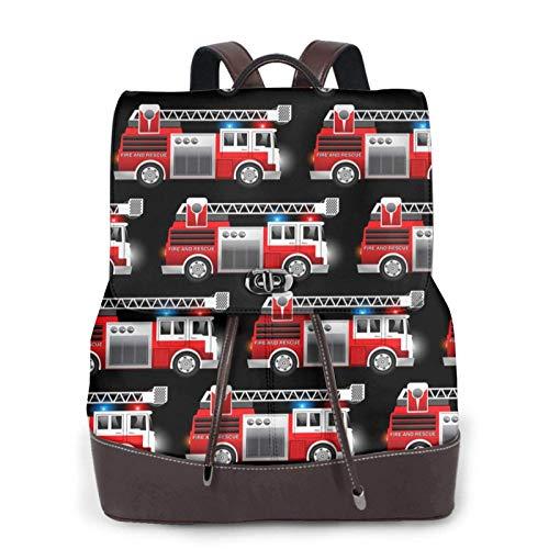 Damen Leder-Rucksack, roter Feuerwehr- und Rettungswagen-Druck