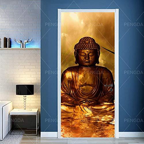 ZJJBH 3D Türaufkleber selbstklebende Tür Tapete Buddhismus Bronzestatue Buddha Statue Fototapete Poster Tapete Pvc Wasserdicht Abnehmbare Wandbilder Für Schlafzimmer Haus Bad Studio Büro 95x215cm