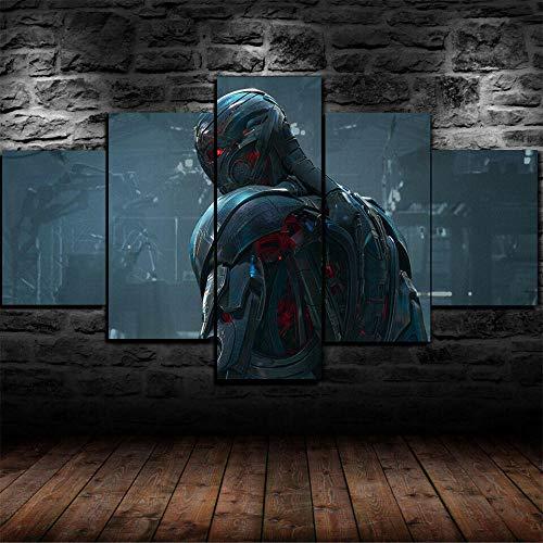 HHXXTTXS Ultron Avengers Película 5 Pieza Cuadro En Lienzo —5 Piezas HD Cuadros Lienzo Modular Decoración Pared Póster con Marco,Talla:150X80Cm Murales Pared Hogar Decor