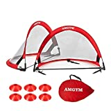 AMGYM Pop Up Soccer Goals Set of 2 Folding Portable Soccer Nets with Carry Bag & 6 Training Cones for Kids Youth Adults, 4'