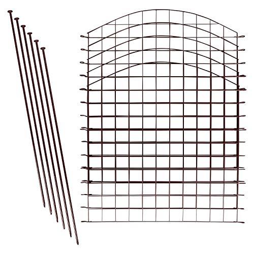 1PLUS Teichzaun Set/Komplett-Set in verschiedenen Verpackungseinheiten und Formen - Sparset mit Oberbogen oder Unterbogen (5X Oberbogen, Braun)