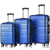 Flieks Hartschale Trolley Koffer Reisekoffer mit Zwillingsrollen mit Zahlenschloss Handgepäck M/L/XL, 35/63/85 Liter (Blau,Set)