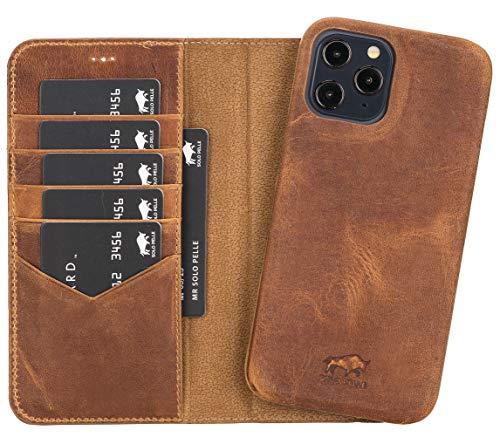 Solo Pelle Lederhülle kompatibel für iPhone 12/12 Pro in 6.1 Zoll abnehmbare Hülle (2in1) inkl. Kartenfächer für das original Apple iPhone (Vollleder Camel Braun)