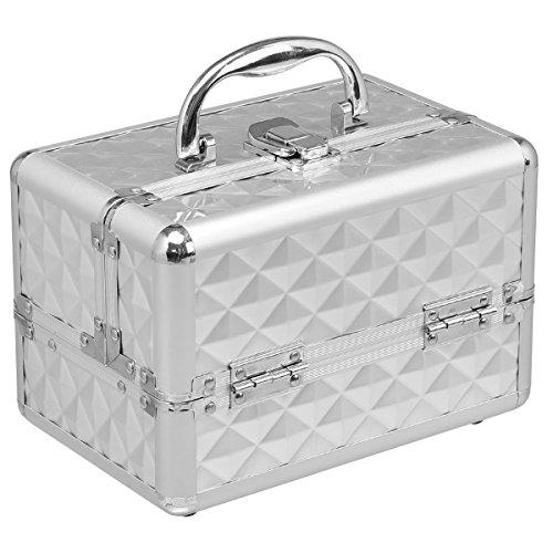 COSTWAY Kosmetikkoffer Schminkkoffer Beauty Case Schmuckkoffer Multikoffer Friseurkoffer mit Spiegel (Silber)