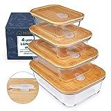 HIKITCHEN® Glas Vorratsdosen AUSLAUFSICHER als Meal Prep Boxen, Vorratsbehälter [4er Set] - hochwertige Frischhaltedosen mit Deckel aus Bambus - Aufschnittbox Glas, Glasbehälter eckig