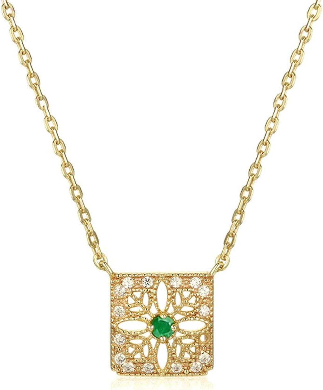 Horizonc Gioielli Collana Quadrata Intagliata Rubino Smeraldo Naturale Gioielli in argentoo Sterling Vintage Traforati con Diauomoti