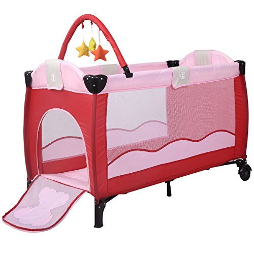 Best Price New Pink Baby Crib Playpen Playard Pack Travel Infant Bassinet Bed Foldable