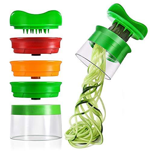 Affettatrice a Spirale, opamoo Affettaverdure con 3 Lame Spiralizzatore Affetta Verdure Spaghetti Qualità Affettatrice Spirale Vegetale Veggetti, Affettatore a Spirale per Cetrioli Patate Zucchine