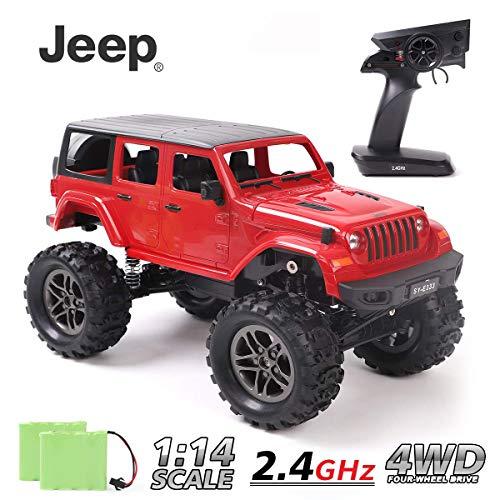 REMOKING RC Auto, Jeep Wrangler 1:14 Maßstab Ferngesteuertes Auto 4WD 2,4 Ghz Fünftüriges Kletterfahrzeug, Rotes RC Geländewagen Geschenk für Kinder Jugendlichen Erwachsene