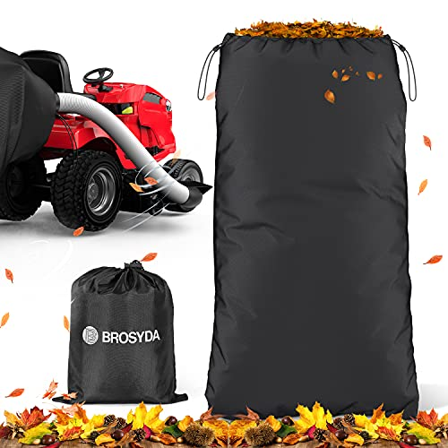 BROSYDA Garden Leaf Bag Grass Catcher Bag for Lawn Mower Tractor, Wearable Oxford Cloth, Material Collection Systems Leaf Bag, Reusable Black Yard Waste Bag, 54 Cubic Feet Fits All Riding Lawn Mower