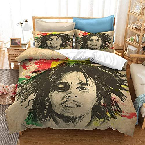 WXhGY Fundas Nórdicas Estampada Beige 200x200 cm Cantante Bob Marley, 3 Piezas Microfibra Funda de...