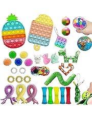 Eghunooye 40 szt. zestaw zabawek Fidget | Zestaw zabawek Sensory Fidget | Tanie Fidget pudełko na zabawki z lodami truskawka kosmiczny pop antystresowa zabawki dla dzieci dorosłych