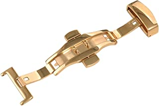 Uyoung 22mm Stainless Steel Polished Gold Double Push Button Butterfly Deployment Clasp