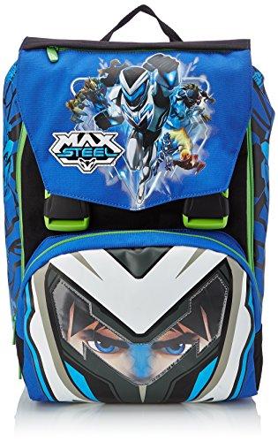 Max Steel - Zaino Scuola Sdoppiabile con Gadget, Big, Estensibile Elementari e Medie, 28 Litri, Blu