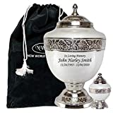 PROUDLY HONOR YOUR LOVED ONES:This adult size funeral cremation urn features a hand engraved beautiful nickel finished border around the body, base and the lid against a majestic white background to commemorate a loved one. Representing protection, p...