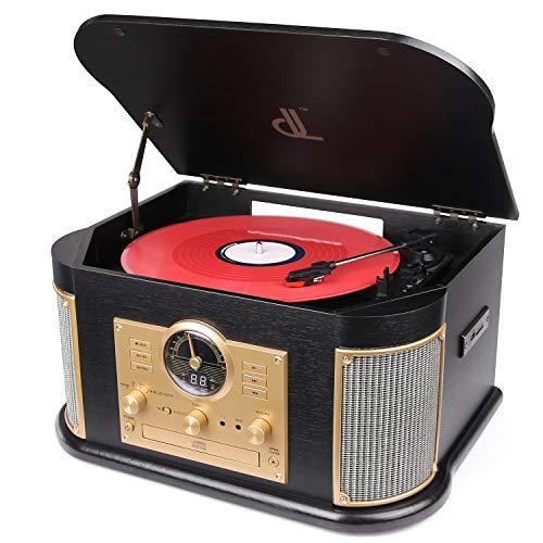 Giradiscos de dl Tocadiscos de Vinilo Vintage Turntable Madera Vinilo Vintage 7 en 1 con Bluetooth.FM,Altavoces Estéreo Incorporados, CD/MP3/CASETE/USB Vinyl Turntable