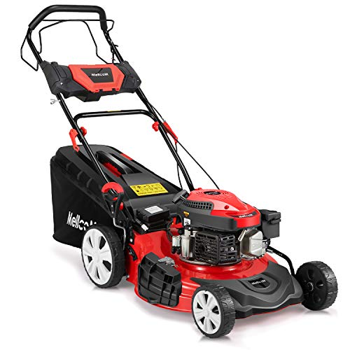 MELLCOM Gas Lawn Mower Electric Start 4-Cycle 173cc OHV 21-Inch Trimming Mower 4-in-1 Rear Wheel Drive Trimmer with 16 Gal Grass Box,8 Adjustable Mower Heights, Adjustable & Foldable Handlebars