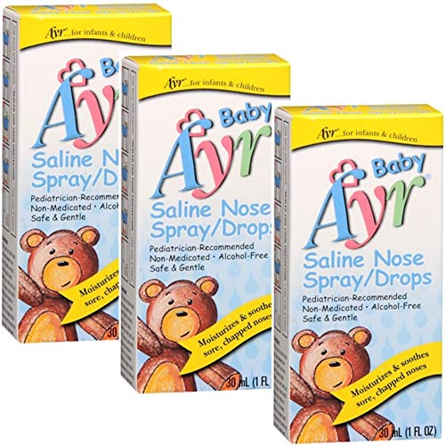 Baby Ayr Saline Nose Spray/Drops, 1-Ounce Spray Bottles (Pack of 3)