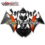 Sportfairings ヤマハに対応YZF-600 R6 2008 2009 2010 2011 2012 2013 2014 2015 2016 R6 2008-2016 BODYWORKキット用のオレンジと黒のカーボン効果フェアリングキット