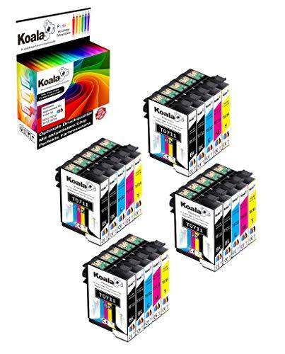 Koala 20 Tintenpatrone Ersatz für Epson T0711 T0712 T0713 T0714 für Epson D78 D92 D120 DX4000 DX4050 DX4400 DX7400 DX7450 DX8400 DX8450 DX9400 (8*Schwarz 4*Cyan 4*Magenta 4*Gelb)