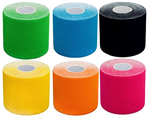 #DoYourFitness Kinesiologie Tape 6er Set Mixpackung elastisches Klebeband 5 m (L) x 5 cm (B) in verschiedenen Farben