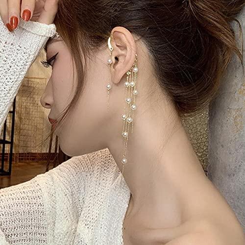 1 Pieza Pendientes de Perlas Coreanos Individuales Pendientes de Clip para Colgar en la Oreja de Arco de Taladro Largo para Mujeres Minimalist Ear Cuff
