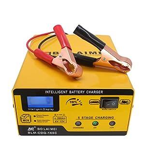 Cargador de batería 12V / 6V 1A-15A Cargador Automático Inteligente Completamente Automático Cargador de Pulso con Pantalla de Barra LED para Coche, Motocicleta, Juguetes