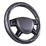 Amazon Basics - Cubierta para volante de cuero sintético, 38 cm (38,1 cm), negro