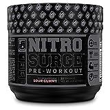 NITROSURGE Black Pre Workout Supplement - Nootropic Energy Booster Powder w/Dynamine & TeaCrine - PreWorkout Nitric Oxide Booster - 30 Servings, Sour Gummy