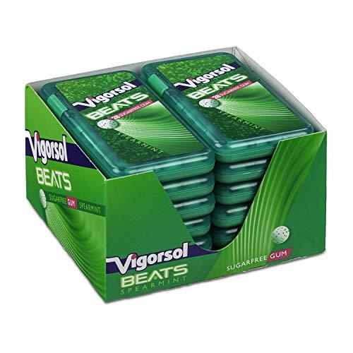 Vigorsol Beats Spearmint, Gusto Menta, Gomme da Masticare senza Zucchero con Xilitolo, Formato Scorta da 12 Astucci