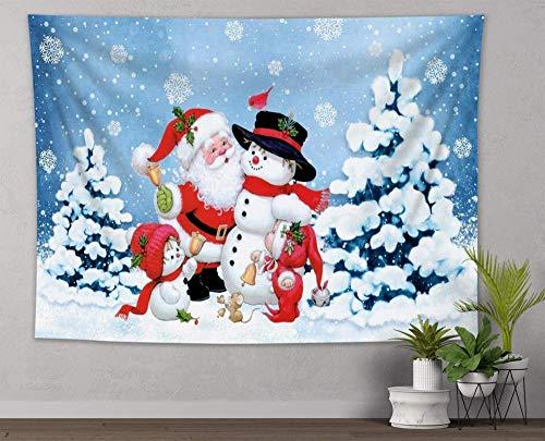 UUJJF Tapiz de invierno Lindo tapiz de muñeco de nieve y Papá Noel Bosque de invierno tapices de nieve Año Manta para colgar en la pared para dormitorio Sala Habitación Decoración indie 150x230cm