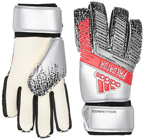 Adidas Predator Competition - Guanti da portiere da calcio, colore argento metallico/nero, 7,5