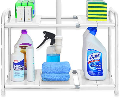Simple Houseware Under Sink 2 Tier Expandable Shelf Organizer Rack White Expand from 15 to 25 inches